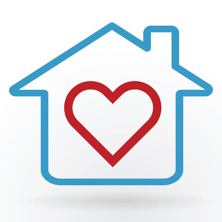 Heart symbol in home happy family and love concept vector illustration. Illustration