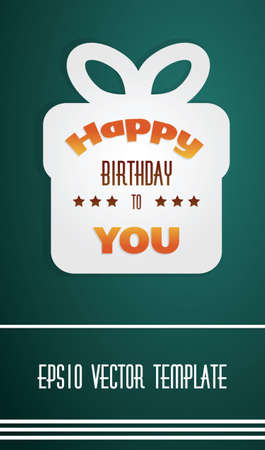present box: Vector illustration of happy birthday present box on dark background as template with place for your text.