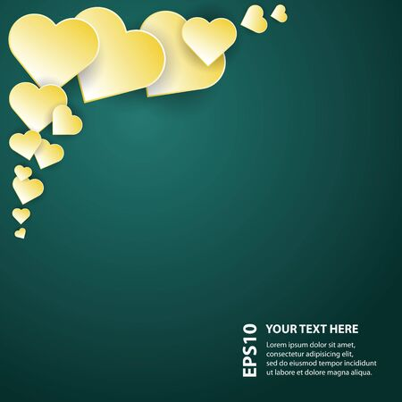 customized: A vector illustration of abstract yellow hearts in front of a dark background. There is a place where text or graphics can be added and customized as needed.