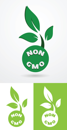 genetic modification: Non gmo sign with green leaves healthy natural food concept vecto illustration.