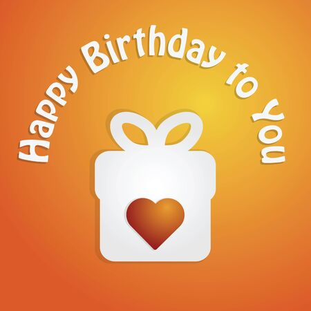 present box: Happy birthday card with present box and heart vector illustration. Illustration