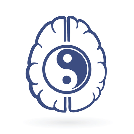 의식: ying-yang and human brain symbols as positive energy life balance concept vector illustration.
