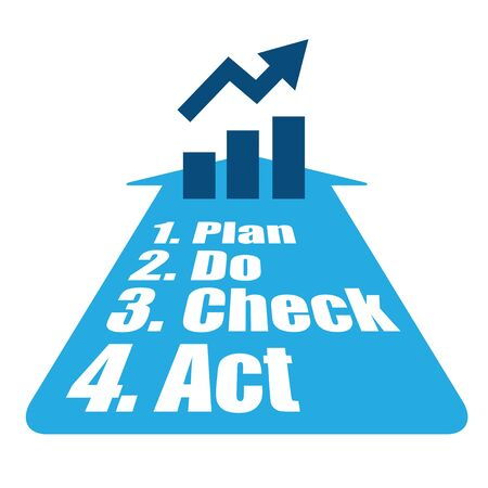 increase business: PDCA method to increase business income vector illustration.