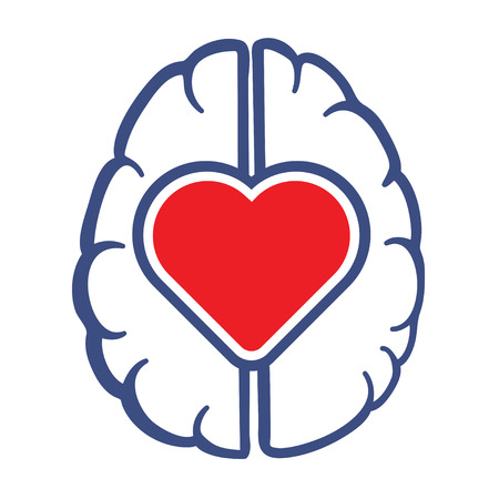 brains: Heart and Human Brain symbol as love lives in human head concept vector illustration.