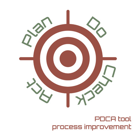 Process improvement PDCA tool to achieve the business target vector illustration. Illustration