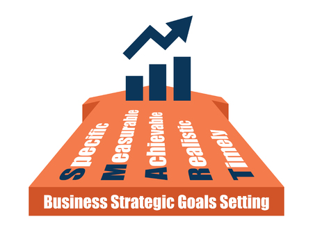 smart goals: SMART goals setting business income chart growing vector illustration.