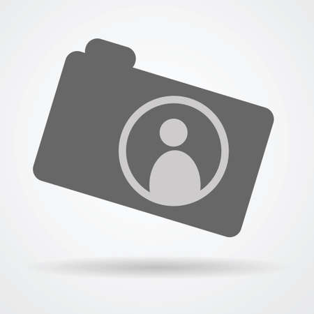 artistic photography: Camera web icon with human symbol inside as photography concept vector illustration. Illustration