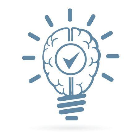 New idea human brain lightbulb vector illustration.