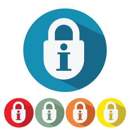 情報セキュリティ web アイコン フラット デザイン ベクトル イラスト。