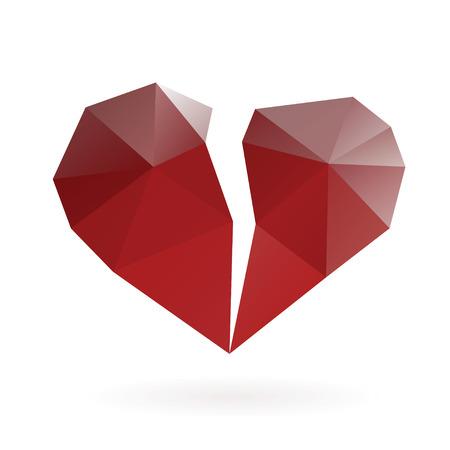 Abstract broken heart low poly design vector gradient illustration.