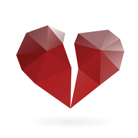 heart pain: Abstract broken heart low poly design vector gradient illustration.