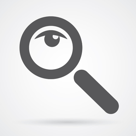 Magnifier glass and eye icon black and white flat design vector illustration.