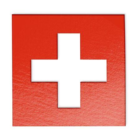 swiss flag: swiss flag isolated on white stylized illustration.