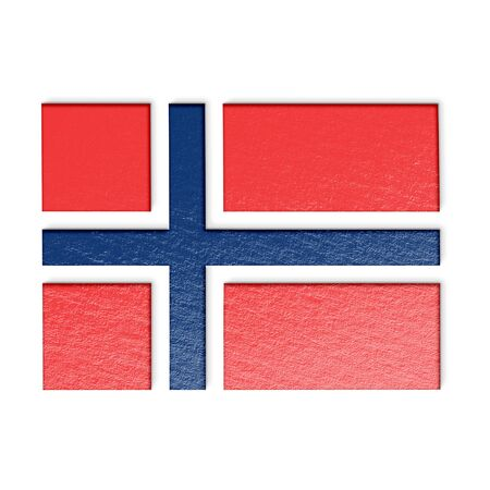 norwegian flag: Norwegian flag isolated on white stylized illustration.