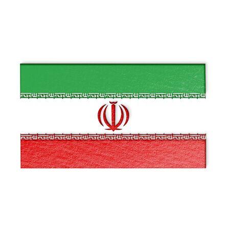 iranian: Iranian flag isolated on white stylized illustration.