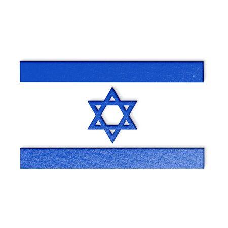 israeli flag: israeli flag isolated on white stylized illustration.