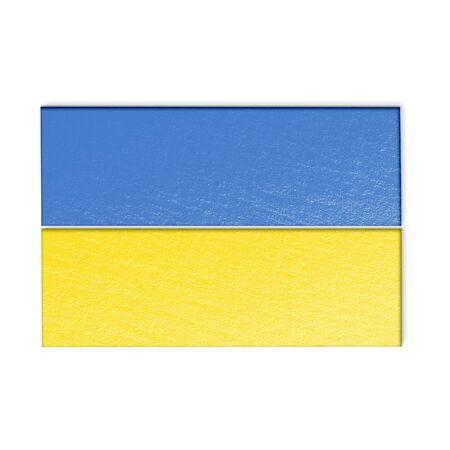 ukrainian flag: Ukrainian flag isolated on white stylized illustration. Stock Photo