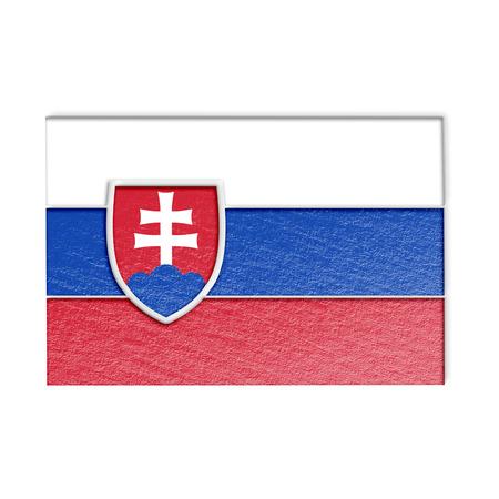 slovakian: slovakian flag isolated on white stylized illustration.