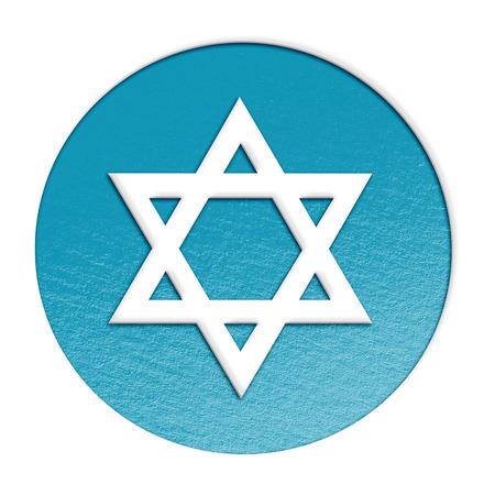 judaic: star of david isolated on white stylized illustration. Stock Photo