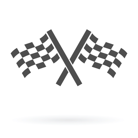 racing checkered flag crossed: crossed autosport finish flags icon isolated design vector illustration
