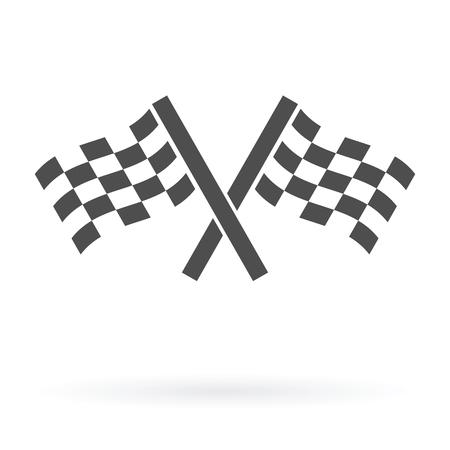 autosport: crossed autosport finish flags icon isolated design vector illustration