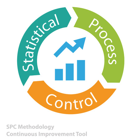 statistical: Statistical Process Control tool icon as continuous improvement tool business concept vector illustration. Illustration