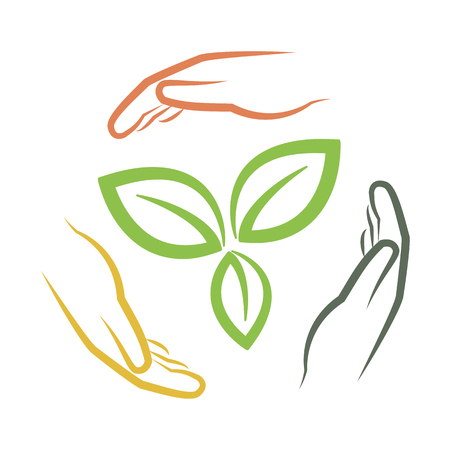 hands around green leaves as multi national environment concept vector illustration