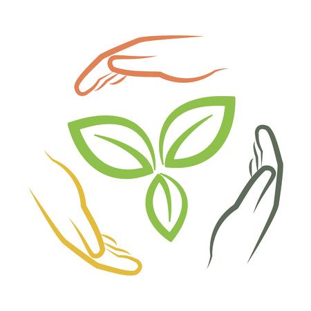 Hände um grüne Blätter als multinationalen Umwelt-Konzept Vektor-Illustration