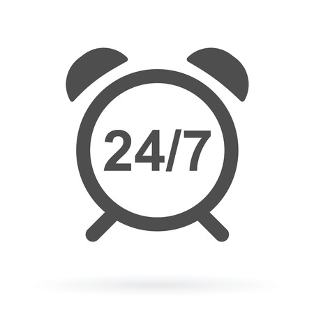 24 hr: alarm clock with 247 numbers as live online support icon vector illustration Illustration
