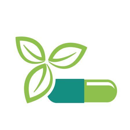 Groene bladeren en de pil als natuurlijke geneeskunde therapie gezondheid concept vector illustratie