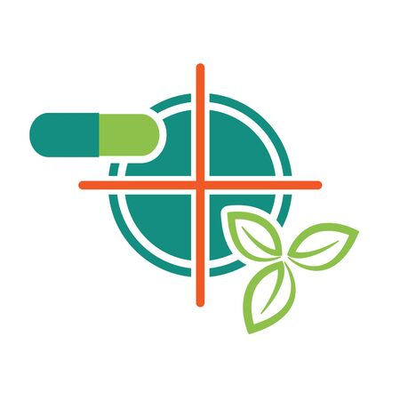 ingradient: Pill and green leaves on target symbol as natural ingradient pharmacy health concept vector illustration.