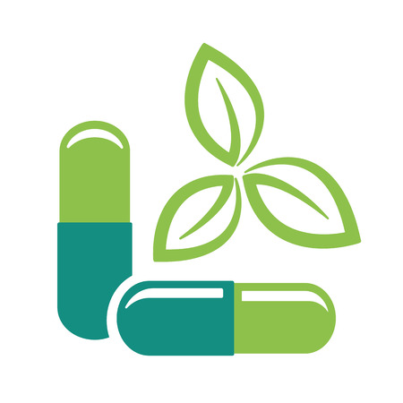허벌 알 약입니다. 녹색 나뭇잎과 의학 알약 벡터 일러스트 레이 션 아이콘.