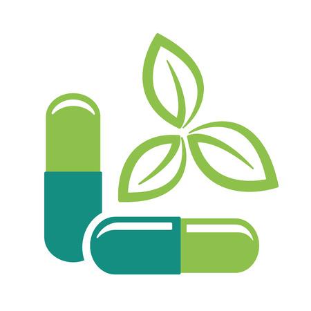 Kräuterpillen. Grüne Blätter und Medizin Pillen Symbol Vektor-Illustration. Illustration