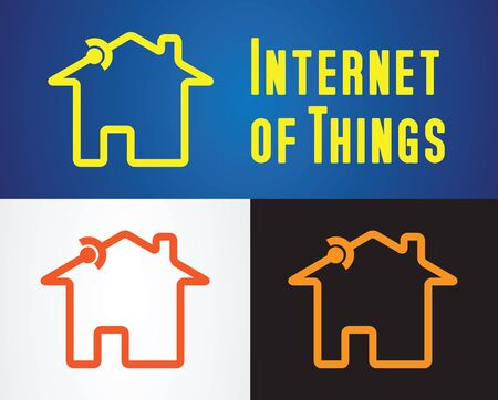 computer data: home with connection symbol as internet of things icon vector illustration