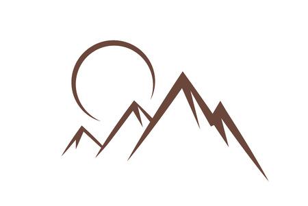 mountain sunset: Mountain sunset symbol icon vector illustration Illustration