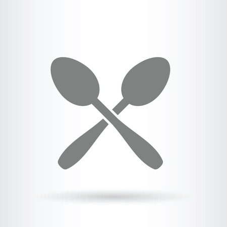isolated on wooden: flat vector illustration of crossed spoons icon