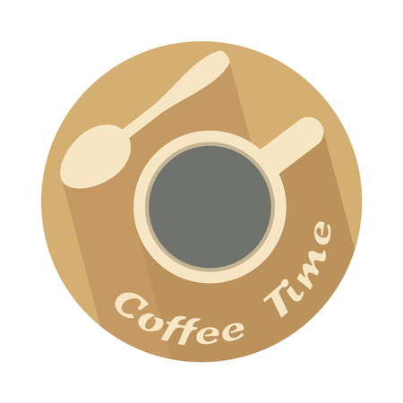 cofffee: cup with coffee spoon as coffee time icon vector illustration Illustration