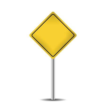 isolated sign: yellow blank road sign isolated on white