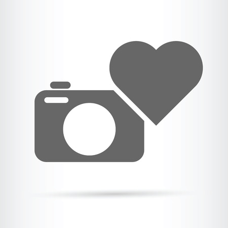 beloved: camera and heart icon beloved hobby concept vector illustration
