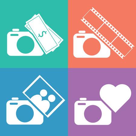 love of money: Camera icon set. Love, family, earn money, entertainment concept vector illustration.