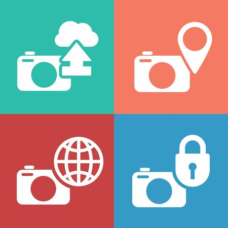 secured: Digital camera icon set. Secured cloud image storage concept