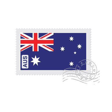 poststempel: Australien Flagge alte Briefmarke auf weißem Vektor-Illustration