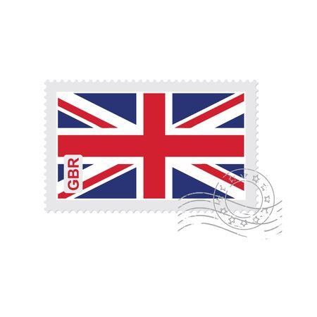 英国の旗の古い切手白いベクトル図に分離