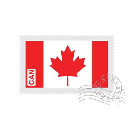 canada stamp: Canada flag old postage stamp isolated on white vector illustration