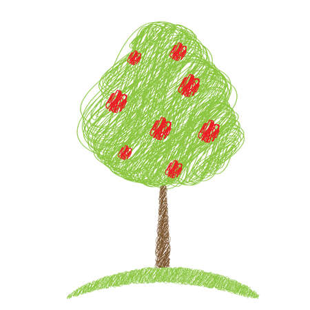 tree isolated: apple tree sketch vector isolated illustration