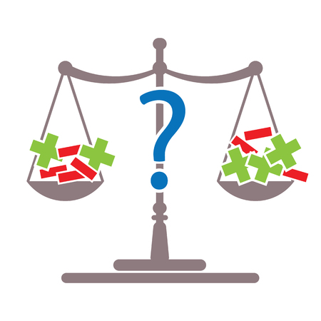 problem pluses and minuses on decision making scale with question mark vector illustration