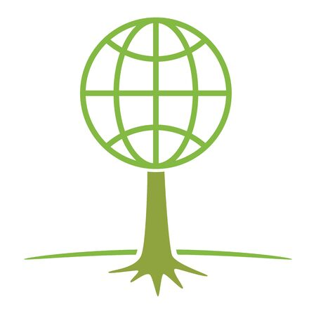 nature protection: earth globe as tree ecology nature protection concept vector illustration Illustration