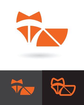 foxy: Orange Fox symbol simple flat icon vector design