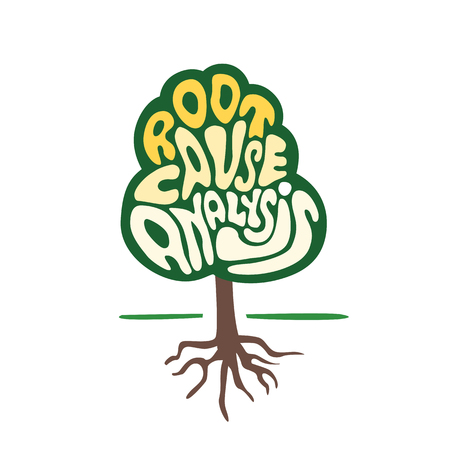 roots: tree symbol with hand lettering root cause analysis word as quality business development and growing concept Illustration