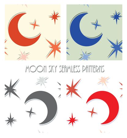 seamless sky: abstract moon star sky seamless pattern set vector design background Illustration